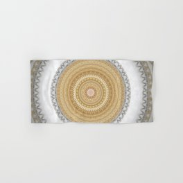 Gold white White and Silver Marble Hand & Bath Towel