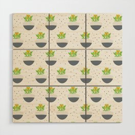 Potted Kalanchoe Plant Mom Pattern Wood Wall Art