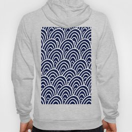 Abstract Scales (White on Navy) Hoody