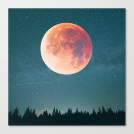 Blood Moon Over the Forest on a Starry Night Canvas Print
