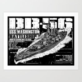 USS Washington (BB-56) Art Print