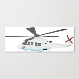 White and Grey Helicopter Canvas Print