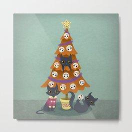 Meowy christmas sugar skulls Metal Print
