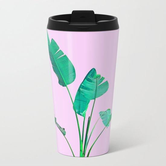Pink Banana Palm Metal Travel Mug
