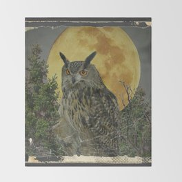 SHABBY CHIC ANTIQUE NIGHT OWL  FULL MOON Throw Blanket