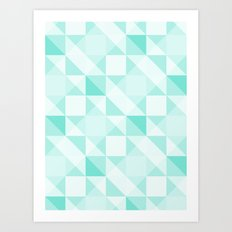All Turquoise Triangle Pattern Art Print