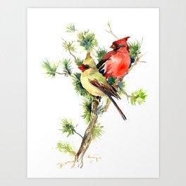 Cardinal Birds on Pine Tree Art Print