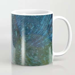 Deep Blue Green Watercolor Splashes and River Foam Collage Coffee Mug