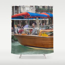 Macho Cigarette Smoking Boatman in Venice Shower Curtain