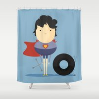 super hero Shower Curtains featuring My Super hero! by Juliana Rojas | Puchu