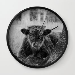 Highland Cow baby calf | Scottish Highlanders, cattle, cows in the Netherlands | Wild animals | Fine art travel and nature photography art print Wall Clock