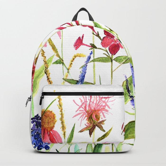 Botanical Colorful Flower Wildflower Watercolor Illustration Rucksack