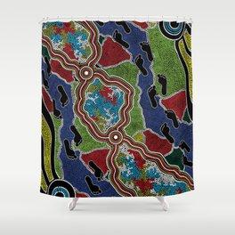 Aboriginal Art Authentic - Walking the Land Shower Curtain