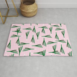 Leek Pattern on Pink Background Rug