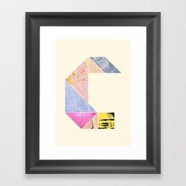 Collaged Tangram Alphabet - C Framed Art Print