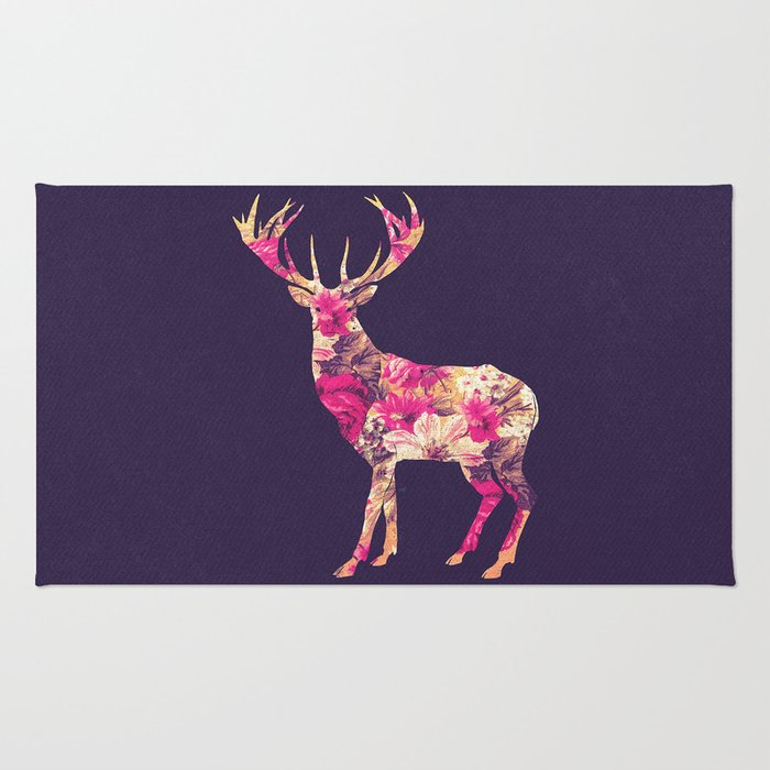 Elegant Pink Vintage Floral Deer On Retro Blue Rug