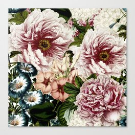 Vintage Peony and Ipomea Pattern - Smelling Dreams Canvas Print