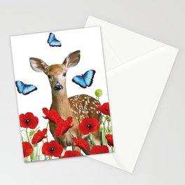 Little Deer - Poppies Field and Morpho Butterflies Stationery Cards