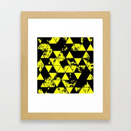 Splatter Triangles In Black And Yellow Framed Art Print