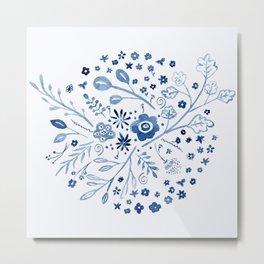 Indigo floral Metal Print