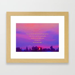 """Sultry Day Sunset"" with poem: Stay Framed Art Print"