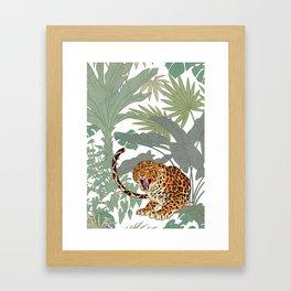 Leopards in the jungle pattern. Framed Art Print