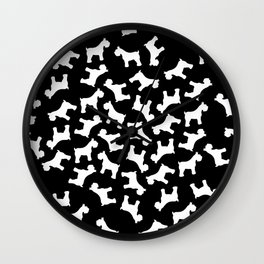 White Schnauzers - Simple Dog Silhouettes Pattern Wall Clock