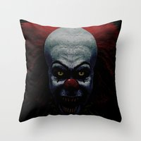 pennywise Throw Pillows featuring Pennywise by John Medbury (LAZY J Studios)