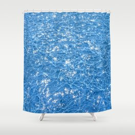 Poolside / Photo of sparkling blue water in bright sunlight Shower Curtain