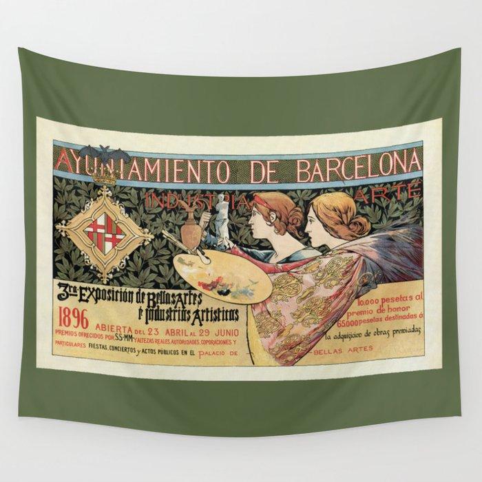 Vintage Art Nouveau expo Barcelona 1896 Wall Tapestry