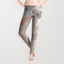 Rose Gold and Marble Geometric Tiles Leggings