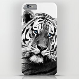 Black and white fractal tiger iPhone Case