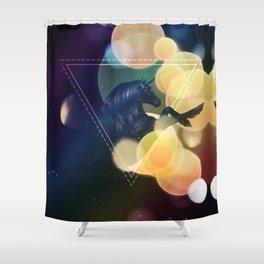 Black Unicorn with yellow bokeh Shower Curtain