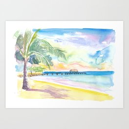 Lonely Vibes in Pigeon Point Beach Trinidad Tobago Art Print