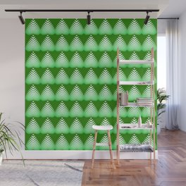Pattern of white hearts and greens on a lime background. Wall Mural