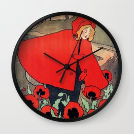 john hassall vintage english poster - Little red riding hood Wall Clock