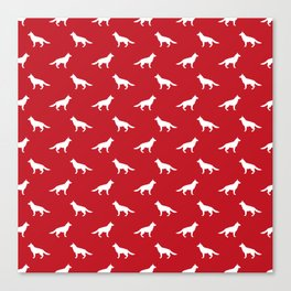 German Shepherd silhouette red and white minimal dog breed pattern dogs dog art Canvas Print