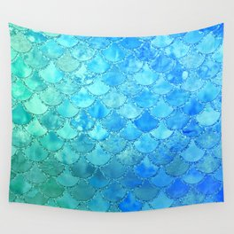Summer Dream Colorful Trendy Mermaid Scales Wall Tapestry
