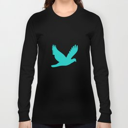 Old Postcard with Bird Silhouette Long Sleeve T-shirt