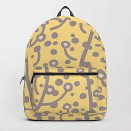 Mid Century Modern Spring Blossoms Gray and Yellow Backpack