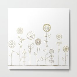 Gold Folk Flowers Metal Print