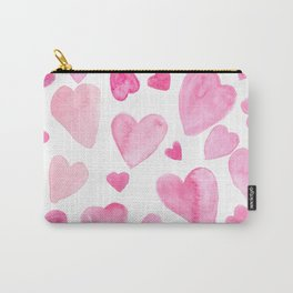 Pink Watercolor Hearts Carry-All Pouch