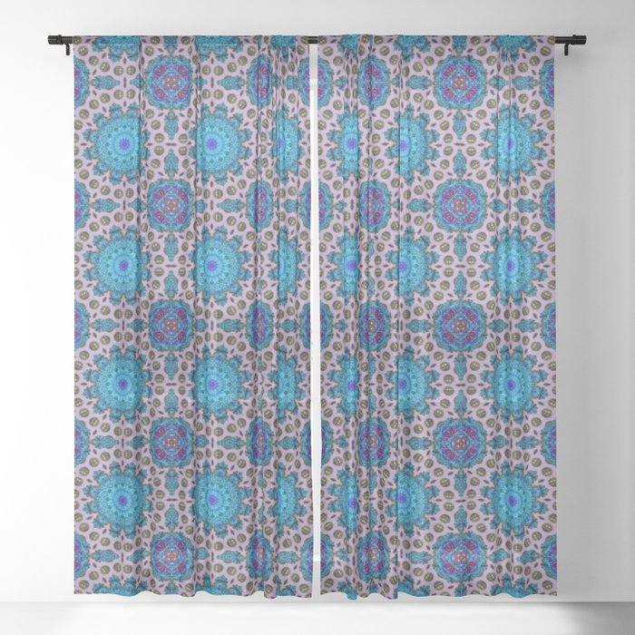 Ficin - Flower mandalas F of Alphabet collection Sheer Curtain
