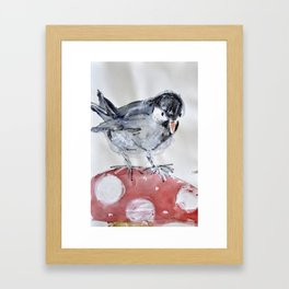 bird on a mushroom Framed Art Print