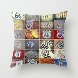Historic U.S. old Route 66 signs. Throw Pillow