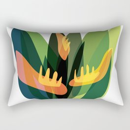 Abstract Tropical Jungle Plants Rectangular Pillow