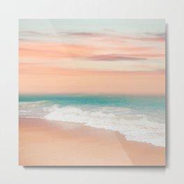 Beachy Tapestry, Coral and Teal, Prints Beach Metal Print
