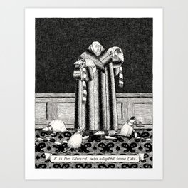 E IS FOR EDWARD, WHO ADOPTED SOME CATS Art Print