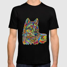 Colorful Psychedelic Rainbow Wolf T-shirt