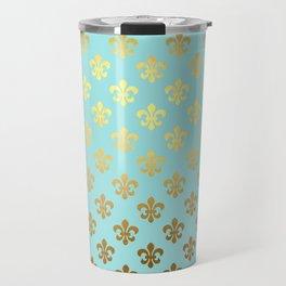Royal gold ornaments on aqua turquoise background Travel Mug